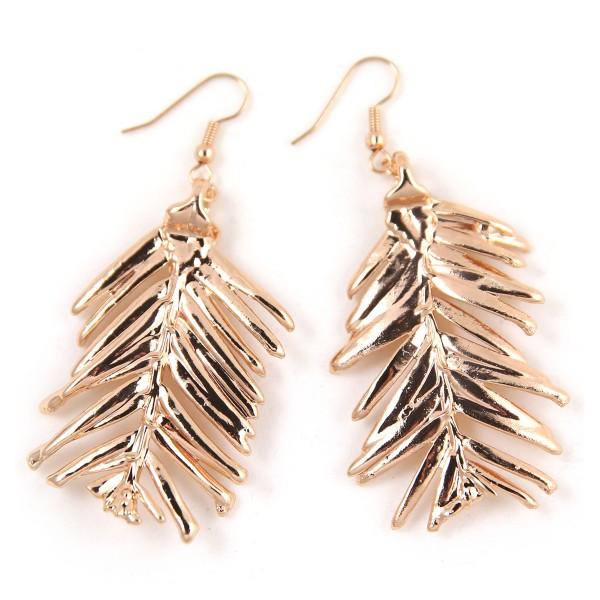 orecchini pendenti di vere foglie aghiformi di abete placcati oro rosa