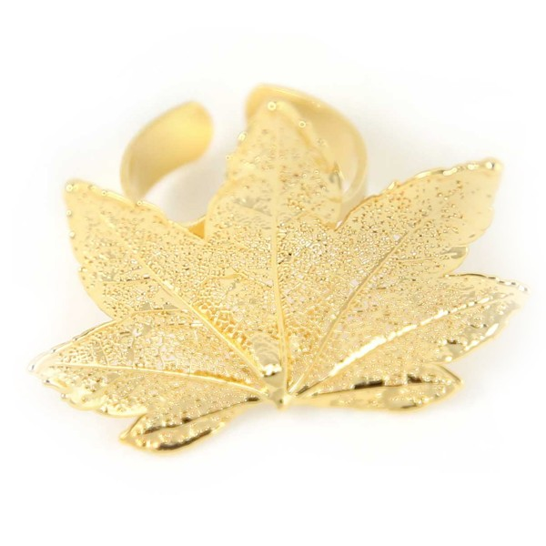 Anello regolabile di vera foglia di acero full moon placcata oro
