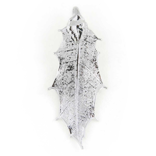 Ciondolo di vera foglia di agrifoglio placcata argento con passante per catenina
