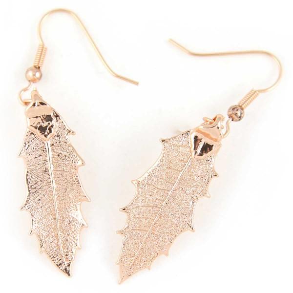 Orecchini pendenti di vere foglie di agrifoglio placcati oro rosa