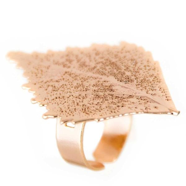 Anello regolabile vera foglia di betulla placcata oro rosa