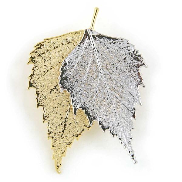 Ciondolo due toni con due vere foglie di betulla placcate una oro e una argento