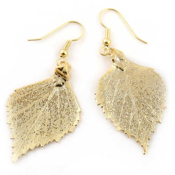 Orecchini pendenti di vere foglie di betulla placcate oro