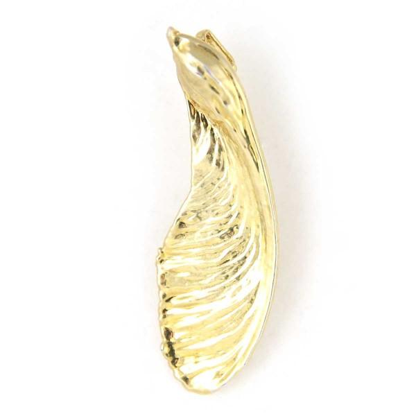 Ciondolo di vera brattea dell'acero placcata oro con passante per catenina