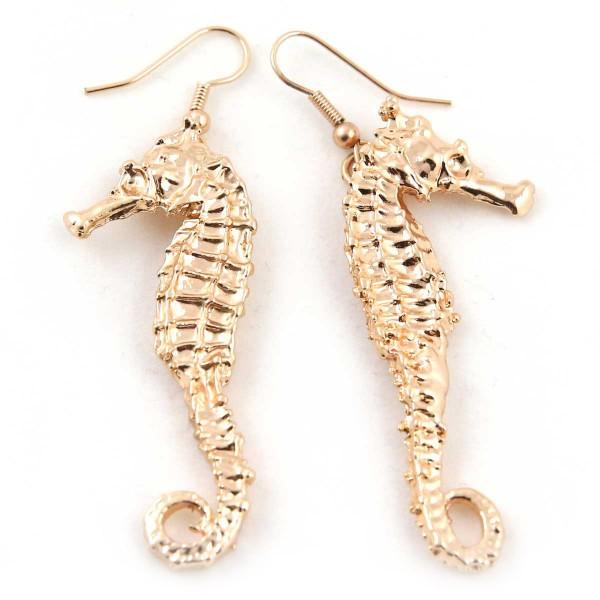 Orecchini pendenti di stampi in metallo di veri cavallucci marini placcati oro rosa