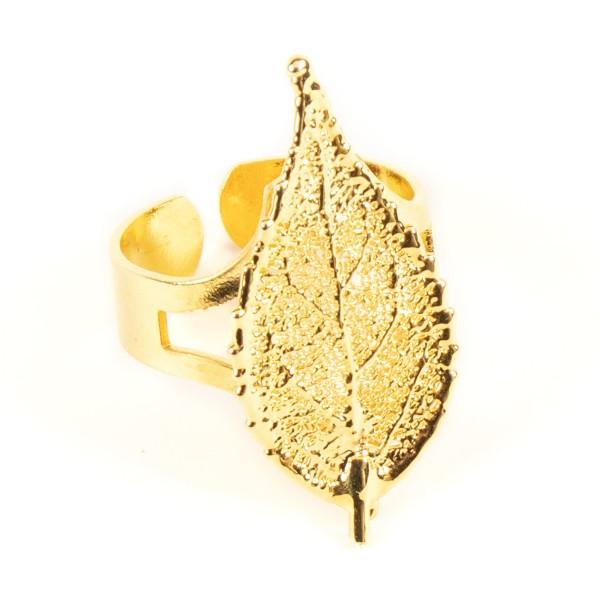 Anello regolabile di vera foglia di ciliegio placcata oro