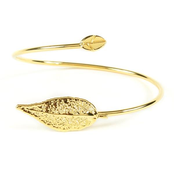 Bracciale di vera foglia di ciliegio placcata oro