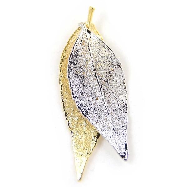 Ciondolo due toni con due vere foglie di ciliegio placcate una oro e una argento