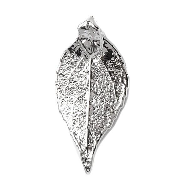 Ciondolo misura mini di vera foglia di ciliegio placcata argento con passante per catenina
