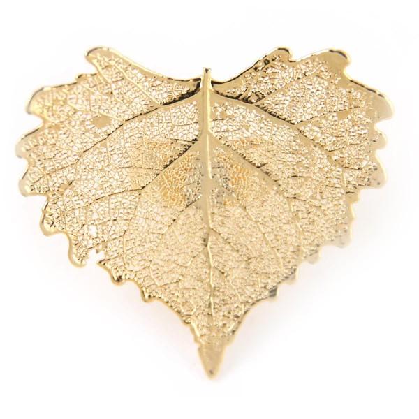 Anello regolabile di vera foglia di cotone placcato oro