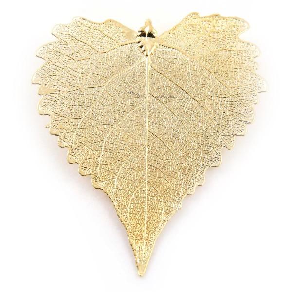 Ciondolo misura grande di vera foglia di cotone placcata oro con passante per catenina