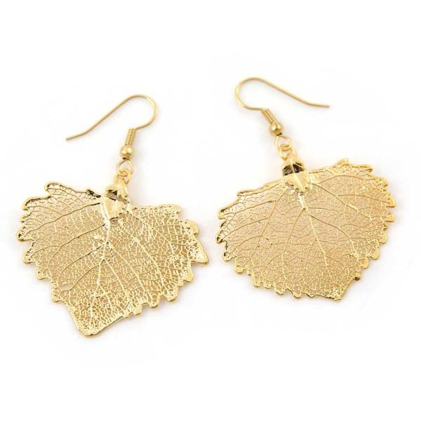 Orecchini pendenti vere foglie di cotone placcate oro