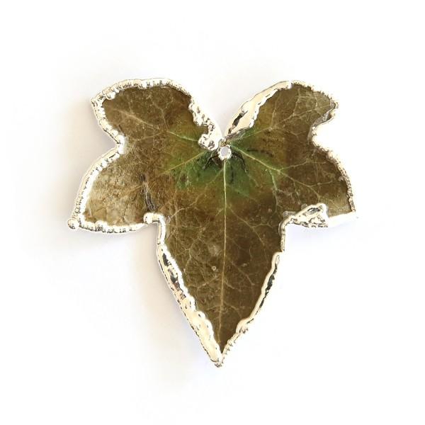 Ciondolo di una vera foglia di edera con foglia a vista su un lato e placcata argento sull'altro lato