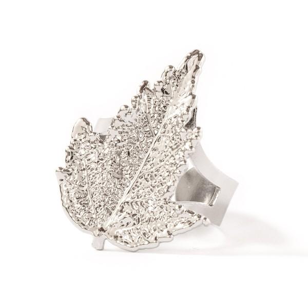 Anello regolabile di vera foglia di gelso placcata argento