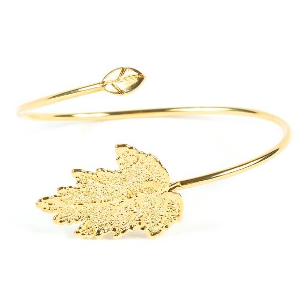 Bracciale di vera foglia di gelso placcata oro