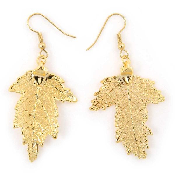 Orecchini pendenti di vere foglie di gelso placcate oro
