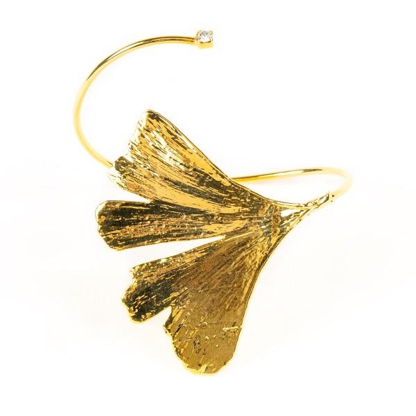 Bracciale di vera foglia di ginkgo biloba placcata oro