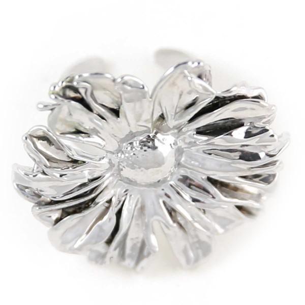 Anello di vero fiore di margherita placcato argento