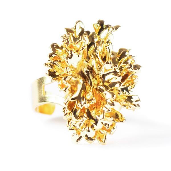 Anello regolabile di vera foglia di prezzemolo placcata oro