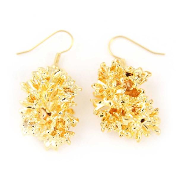 Orecchini pendenti di vere foglie di prezzemolo placcate oro