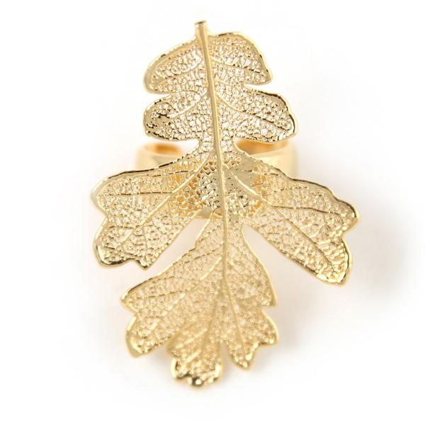 Anello regolabile di vera foglia di quercia placcata oro