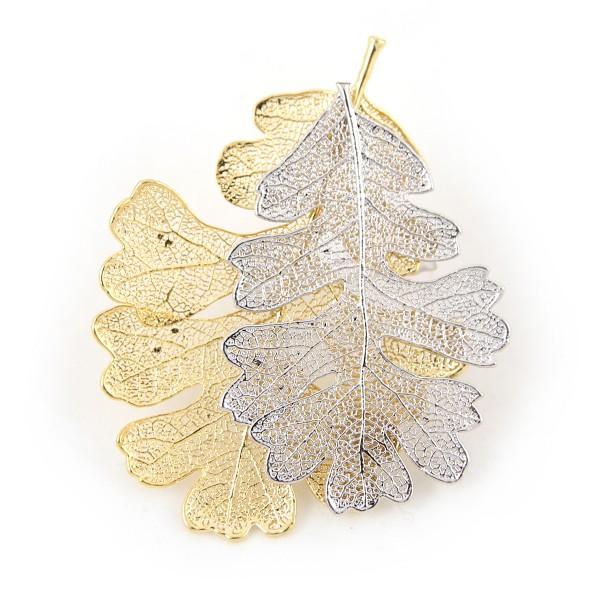 Ciondolo due toni con due vere foglie di quercia placcate una oro e una argento