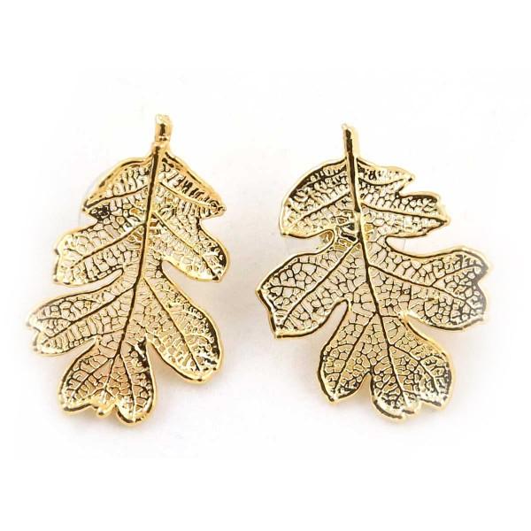 Orecchini a lobo di vere foglie di quercia placcati oro
