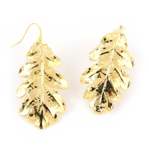 Orecchini pendenti di vere foglie di quercia placcati oro