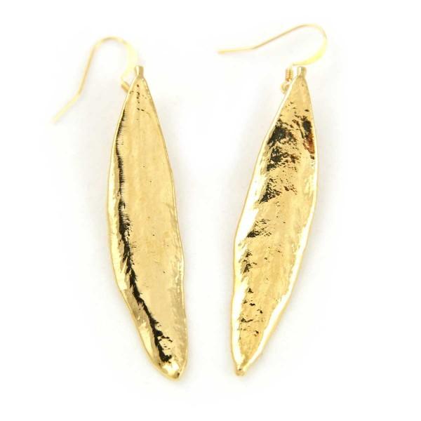 Orecchini pendenti di vere foglie di ulivo placcate oro